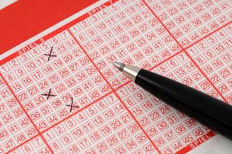 Ausgefülltes Lotterielos.